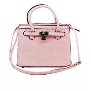 Elegant pink lock pebble leather lady bags